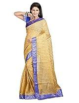 Vibes Women's Bhagalpuri Art Silk Saree,With Blouse (S54-VBK162_Golden)
