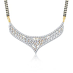 Meenaz Love Lock Gold And Rhodium Plated Cz Mangalsutra Pendant For Womenmsp 701