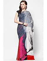 Designer Georgette Red Printed Saree
