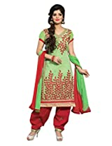 Vibes Women Cotton Salwar Suit Dress Material (V136-23010 _Green _Free Size)