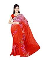 Sonal Trendz Orange Color Printed Georgette Saree with Blouse