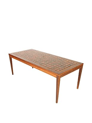 Danish Mid-Century Modern Tile Top Table, Brown/Orange/Black
