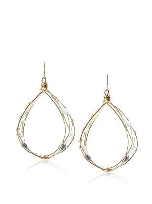 Misha London Blue Topaz & Blue Topaz Teardrop Hoop Earrings