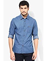 Blue Slim Fit Casual Shirt Peter England