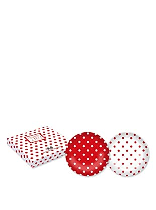 Easy Life Design Set 2 Piatti Dessert in Porcellana Bone China Happy Pois (Rosso)
