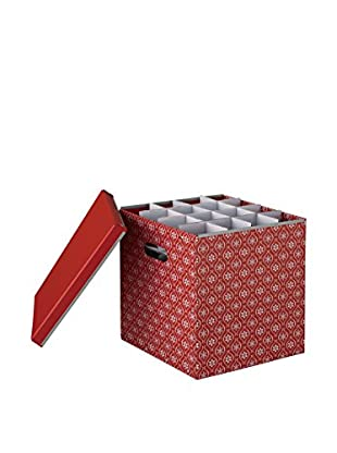 Organize It All X-Mas Ornaments Storage Box, Red