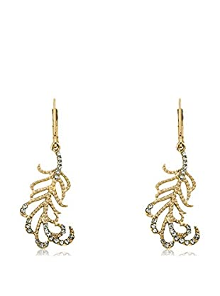 Riccova Country Chic 14K Gold Plated Crystal Leaf Dangle Earrings/Base Metal