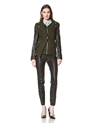 Sam Edelman Women's Wool Jacket with Leather Sleeves (Olive)