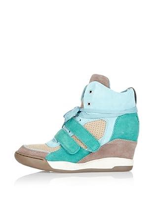 Ash Zapatillas de Cuña Andy Calfsuede (Beige / Turquesa)