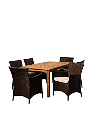 Amazonia Teak Scottsdale 7-Piece Wicker Rectangular Dining Set with Off-White Cushions, Brown