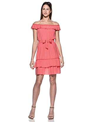 Crema Vestido Cuello Barco (Coral)