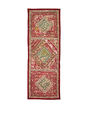 Uptown Down One-of-a-Kind Floor Runner of Vintage Tribal Collars, Red/Pink/Sage