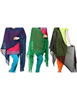 Famacart Combo women's Multicolor Ethnicwear Chiffon Dupattas Pack of 3