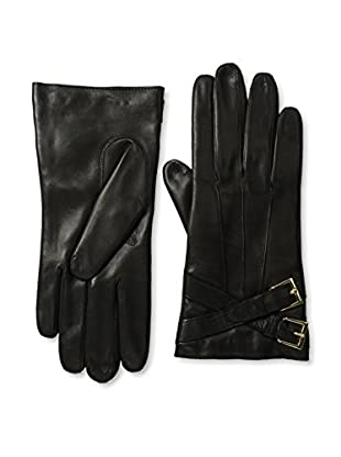 Portolano Women's Cashmere Lined Buckle Leather Gloves (Black)
