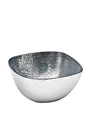 Dynasty Gallery Metal Hammered Squared Bowl (Silver)