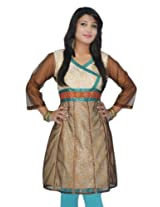 Sai Ruchi Women's Ivory Brown Kurti - XX-Large/44