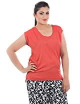 LastInch Brick-Red Casual Top_LISS438_L
