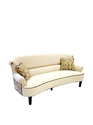 Armen Living Deerfield Sofa In Ikat Fabric, Green/Cream