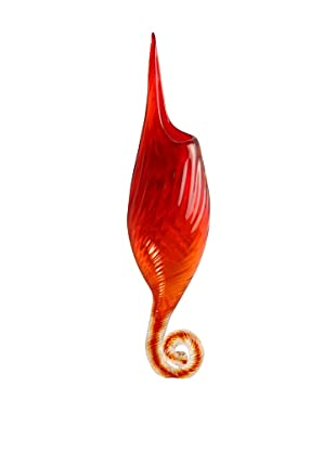 Meridian Glass Fiddle-Shape Wall Vase, Amber/Red