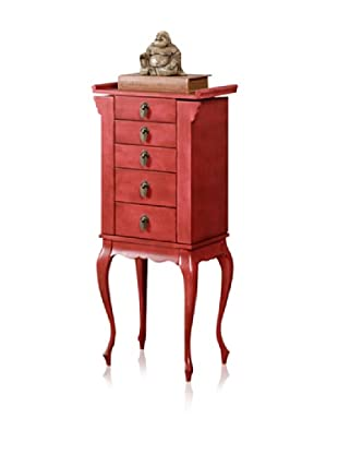 Bow 4 Drawer Jewelry Armoire (Rustic Red)