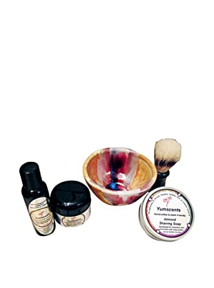 Yumscents Shaving Kit with Handcrafted Pottery Bowl, Almond
