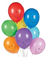 GrandShop 50286 Balloons Smiley Face Printed Multicolor (Pack of 25)