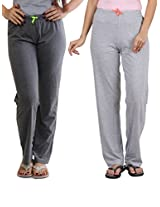 SlumberJill Set of 2 - Charcoal & Grey Lounge Pants (FWSJ302-3_Grey&Charcol_Medium)