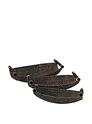 Set of 3 Seagrass Metal Baskets