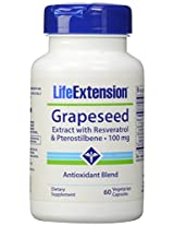 Life Extension, Grapeseed Extract with Resveratrol and Pterostilbene, 100 Mg Veggie Capsules, 60-Count