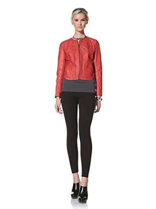 HARE + HART Women's Davis Leather Jacket (Cerise Red)
