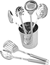AT HOME Stainless Steel Mixed Cutlery Set, 3 Liter, Metallic, Set of 7