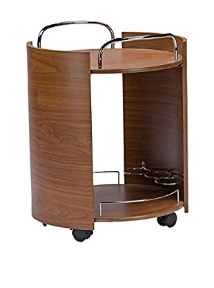 Baxton Studio Carlsen 2-Tier Finish Serving Trolley with Chrome Handles, Brown Walnut