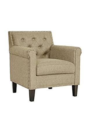 Baxton Studio Thalassa Linen Modern Arm Chair, Dark Beige