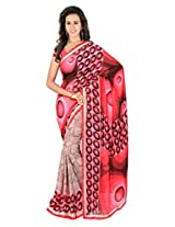 Sonal Trendz Pink Color Printed Saree. Weightless Fabric Printed Saree with Lace & Blouse. Festive Wear.