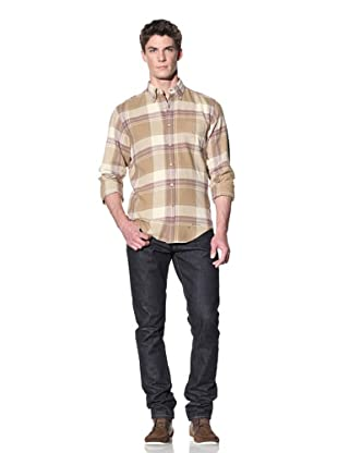 GANT Rugger Men's Tinkering Twill Check Shirt (Green Khaki)