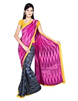 Sonal Trendz Blue & Pink Color Printed Georgette Saree with Blouse
