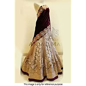 Bollywood Style Model Chiken Net and Micro Velvet Lehenga In Maroon and Off White Colour NC1045