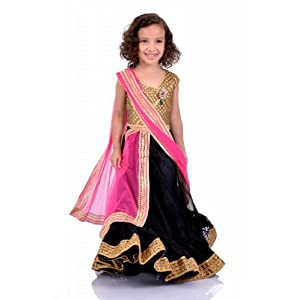 K&U Black, Gold & Pink Lehenga-3101 :10-11 Years