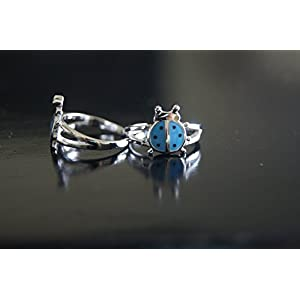 Gajgauri Silver Toe Ring in Silver, Blue & Black