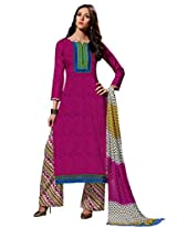 Inddus Women Magenta & Beige Self Designed Plazzo Unstitched Material
