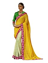 Status Yellow Color Printed Saree On Bhagalpuri Silk Fabric.