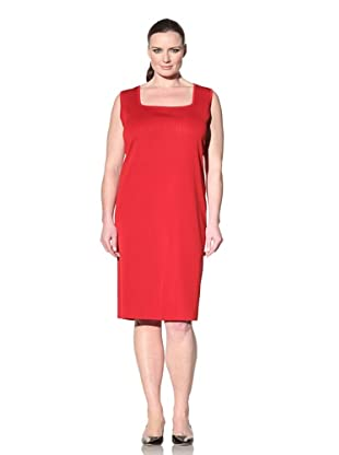Misook Women's Plus Square Neck Sleeveless Dress (Red)