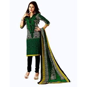 Salwar Studio Green & Black Cotton unstitched churidar kameez with dupatta AR-1116