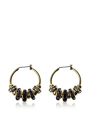 Majique Pendientes Gold Tone, Black, Transparent