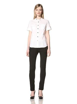 Pink Tartan Women's Tab Pocket Shirt (White)