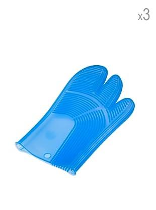 Pavoni Set 3 Guantes De Silicona Azul