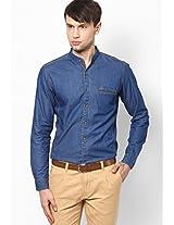 Denim Washed Chinese Collar Full Sleeve Shirt