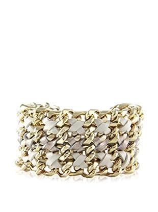 Ettika Cream Gilded Gate Chain & Leather Bracelet