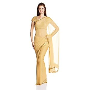 Classic Solid Gold Colored Designer Chiffon Material Beige Saree With Blouse Piece by Satya Paul