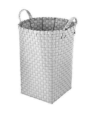 Whitmor Striped Resin Weave Hamper, White